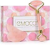 EMOCCI Jade Roller Gesicht Rosenquarz Gua Sha Gesichtsroller Massageger Face Massagegerät Echt...