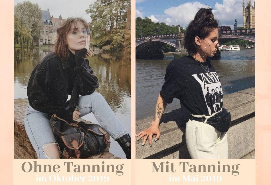Vorher-Nachher Bilder Spray Tanning Fake Tan Bräunungsdusche