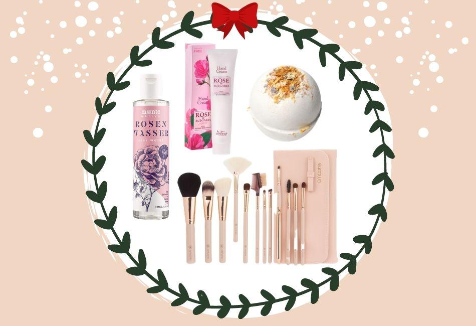 Weihnachtskorb Weihnachtskörbe Weihnachtsgeschenke zusammenstellen beauty skincare pflegeprodukte schminke Hamper Christmas guenstige geschenk 25 Euro Produkte Weihnachtsgeschenk