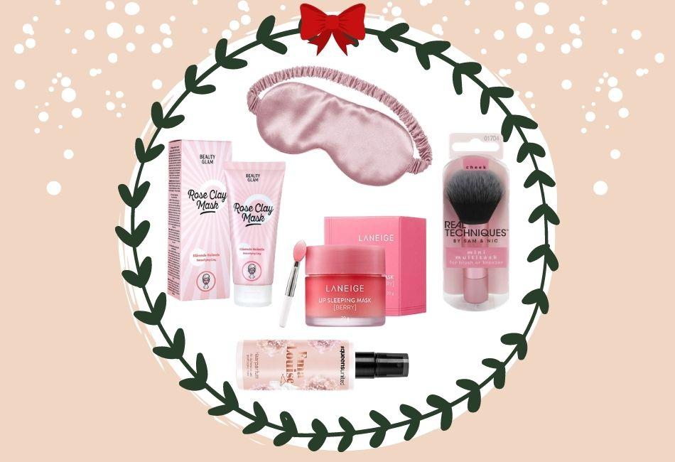 Weihnachtskorb Weihnachtskörbe Weihnachtsgeschenke zusammenstellen beauty skincare pflegeprodukte schminke Hamper Christmas Luxusgeschenk 55 Euro Produkte