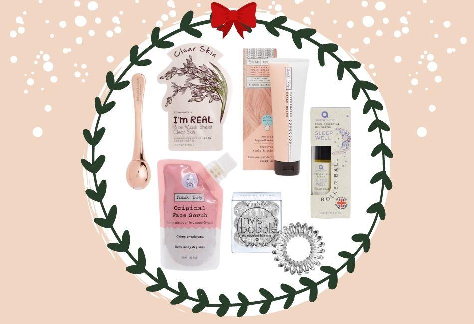 Weihnachtskorb Weihnachtskörbe Weihnachtsgeschenke zusammenstellen beauty skincare pflegeprodukte schminke Hamper Christmas Luxusgeschenk 55 Euro Produkte Weihnachtsgeschenk