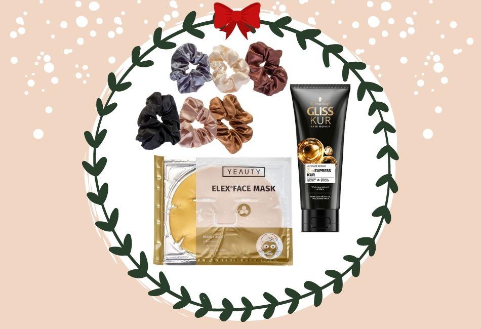 Weihnachtskorb Weihnachtskörbe Weihnachtsgeschenke zusammenstellen beauty skincare pflegeprodukte schminke Hamper Christmas guenstige geschenk Drogerie 15 Euro Produkte Weihnachtsgeschenk