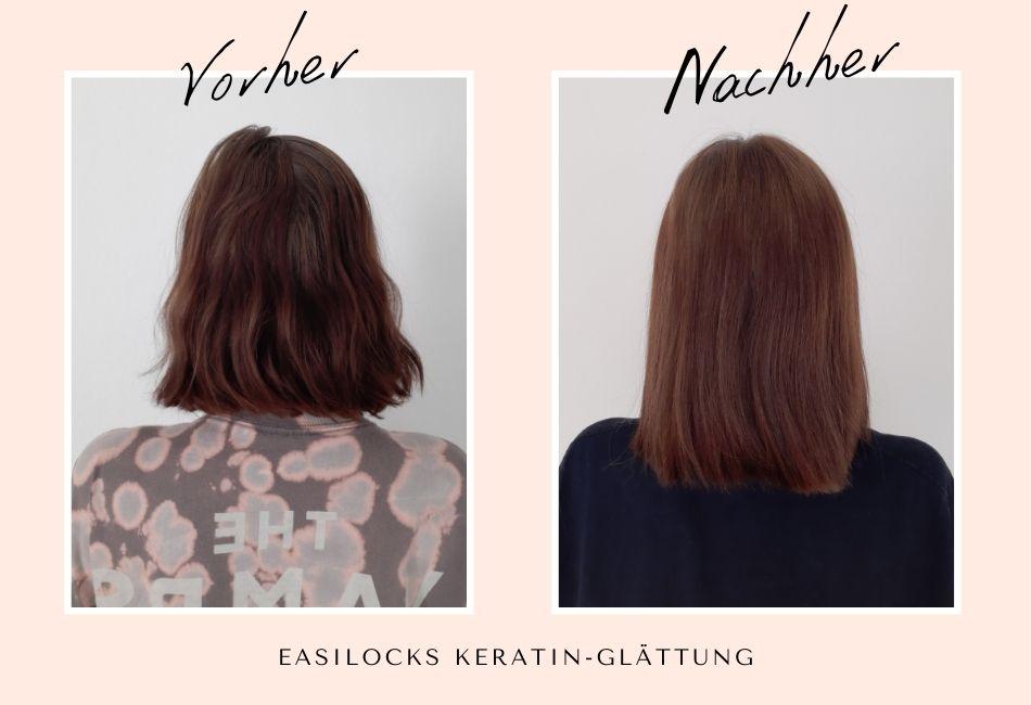 Haarglättung dauerhaft keratinglättung vorher nachher