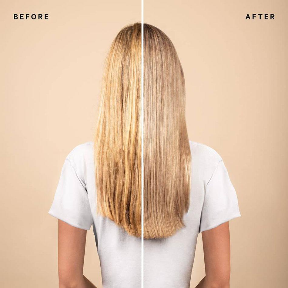 Kühles Blond Glossing im Vorher/Nachher-Vergleich