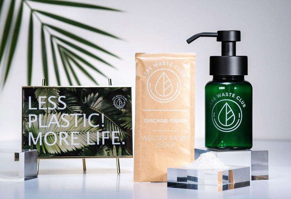 Duschgelpulver und Duschgelspender von Less Waste Club
