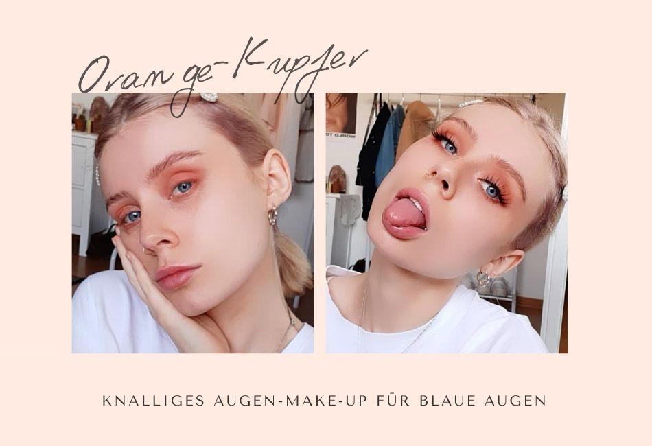 Blaue Augen mit Farbe schminken Orange Kupfer