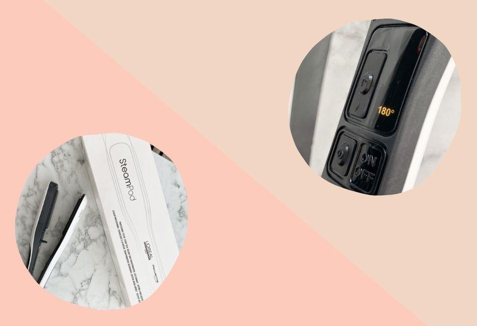 L'Oréal Steampod Detailaufnahmen von Verpackung und Knöpfen