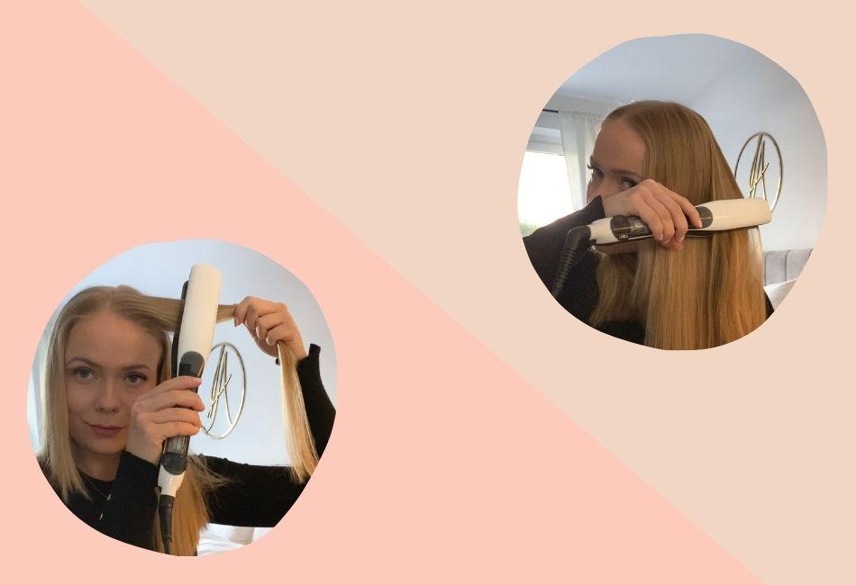 Collage: Redakteurin glättet ihre Haare mit dem Steampod