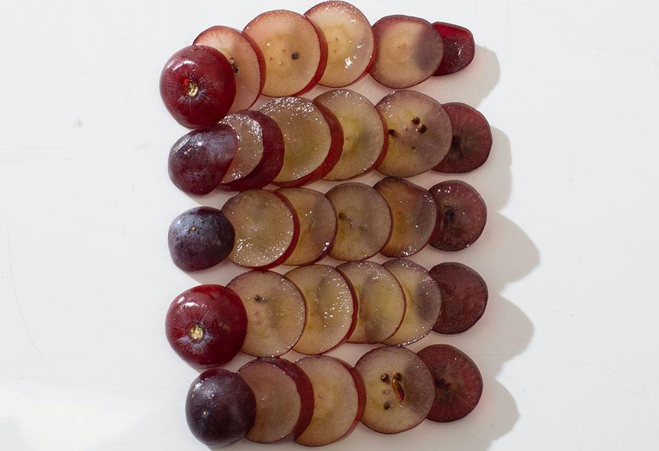 Weintrauben aufgeschnitten