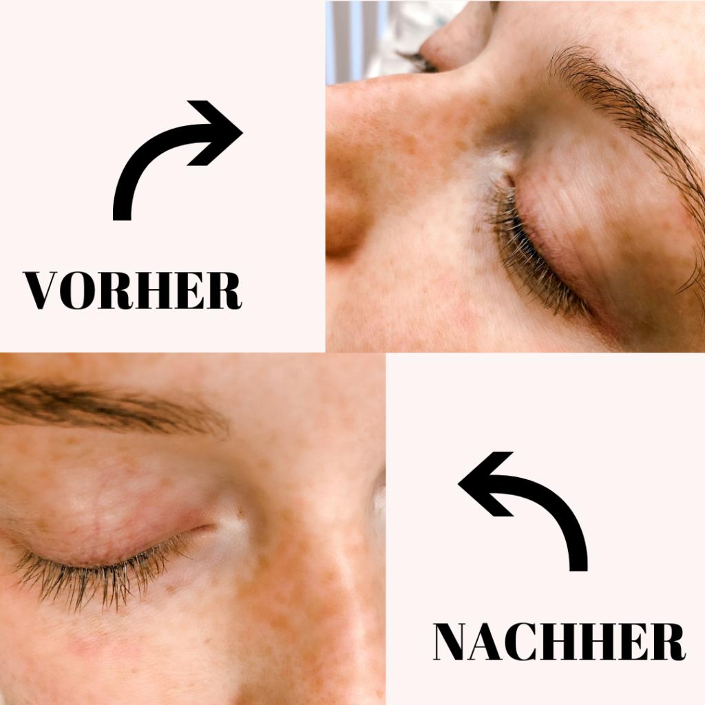 M2 Beauté Wimpernserum Vorher/Nachher
