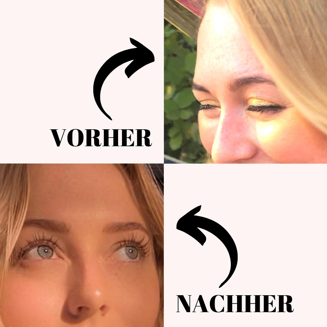 Wimpernserum Vorher/Nachher